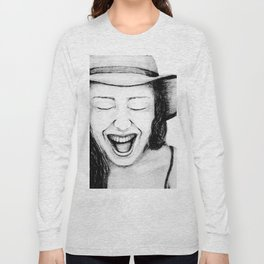 So Amused! Expressions of Happiness Series -Black and White Original Sketch Drawing, pencil/charcoal Long Sleeve T-shirt