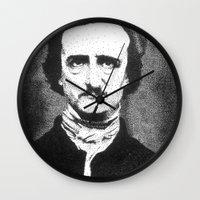edgar allan poe Wall Clocks featuring Edgar Allan Poe by Daniel Point