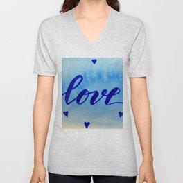 Valentine's Day Watercolor Love - blue Unisex V-Neck