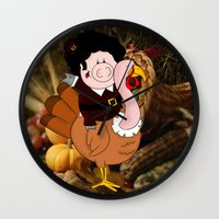 thanksgiving Wall Clocks featuring Thanksgiving turkeys by Afro Pig