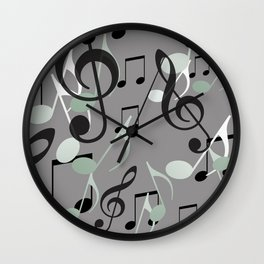 Many Music Notes with clef grey and black Wall Clock