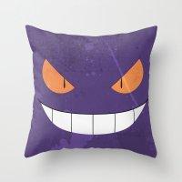 gengar Throw Pillows featuring Minimalist Gengar by mistergookey