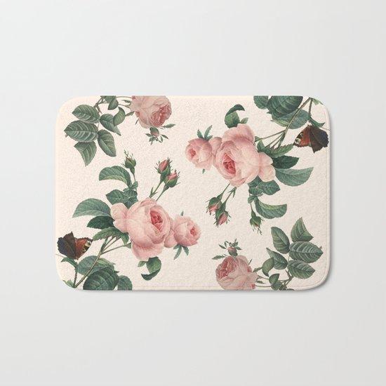 Rose Garden Butterfly Pink Bath Mat