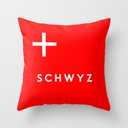 Schwyz region switzerland country flag name text swiss Throw Pillow