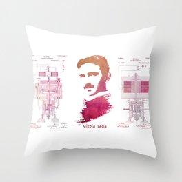 Nikola Tesla - Apparatus for aerial transportation Throw Pillow