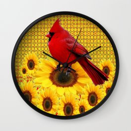 RED CARDINAL YELLOW SUNFLOWERS ART Wall Clock