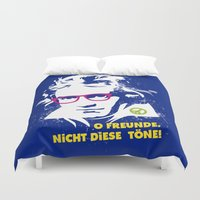 beethoven Duvet Covers featuring Beethoven Hippie by Maldita Novena
