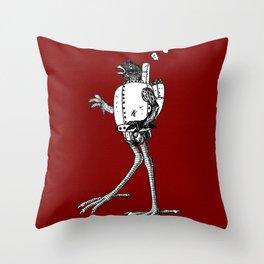 A steam-powered chicken cyborg! Throw Pillow