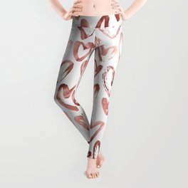 Rose Gold Pink Hearts Pattern on White Leggings