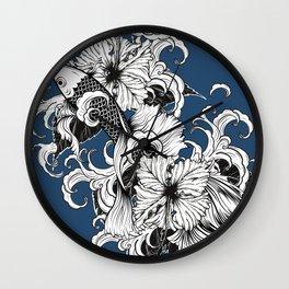 Blue Floral Koi Pattern Wall Clock
