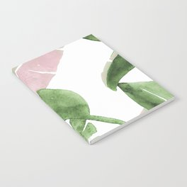 Tropical Leaves Green And Pink Notebook