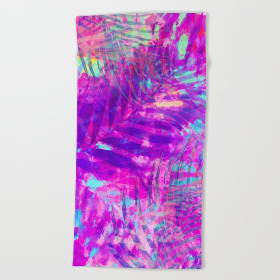 Colorful abstract palm leaves 3 Beach Towel