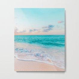 Ocean Bliss, Nature Landscape Sea Travel Tropical, Nordic Luxe Photography Pastel Island Digital Metal Print