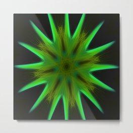 Green Star Burst Metal Print