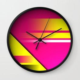 Hot Pink & Yellow Abstract Wall Clock