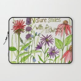 Nature Smiles with Flowers Watercolor Illustration Laptop Sleeve
