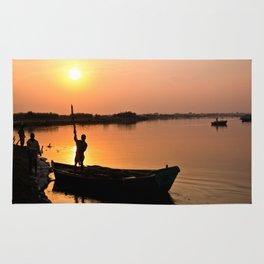 Sunset on Sacred Yamuna River Rug