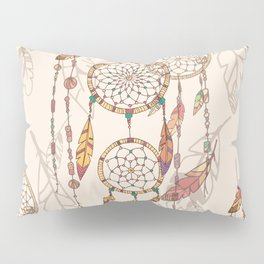 Bohemian dream catcher with beads and feathers Pillow Sham