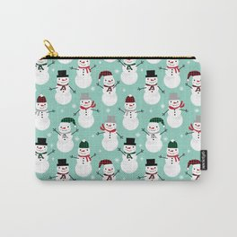 Snowman gender neutral mint white and black holiday pattern kids room decor seasonal Carry-All Pouch