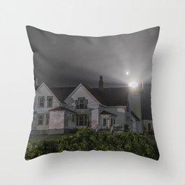 Eastern point lighthouse on a foggy night Throw Pillow