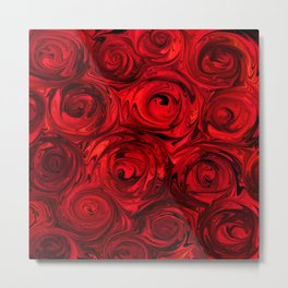 Red Apple Roses Abstract Metal Print
