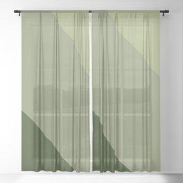 Pine Moss Sage Diagonal  Sheer Curtain