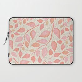 Coral Pink Leaves On Gold Laptop Sleeve