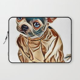 Little dog chihuahua in a green raincoat. Isolated on a white background.        - Image Laptop Sleeve