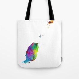 Grenada Watercolor Map Tote Bag