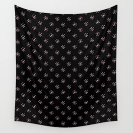 Cotton Candy Pink on Black Snowflakes Wall Tapestry