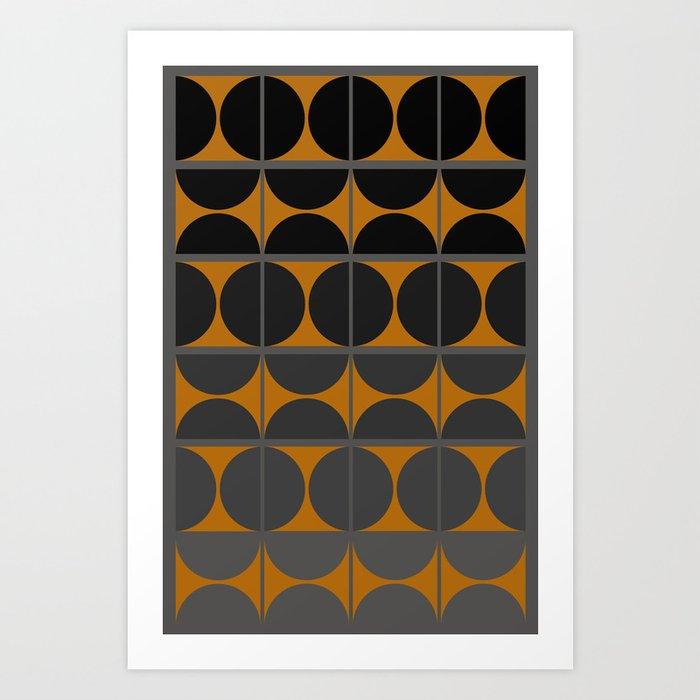 Black and Gray Gradient with Gold Squares and Half Circles Digital Illustration - Artwork Art Print