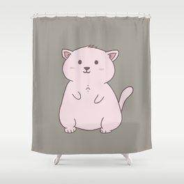 Kawaii moon cat Shower Curtain