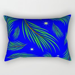 Background made of fir branches and stars. Winter pattern for design in green and blue tones. Rectangular Pillow