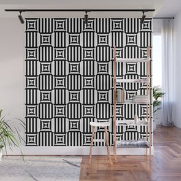 Beautiful pattern with striped lines and rhombuses. Black and white op art. Wall Mural