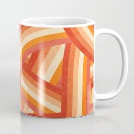 Red, Orange and Cream 70's Style Rainbow Stripes Coffee Mug