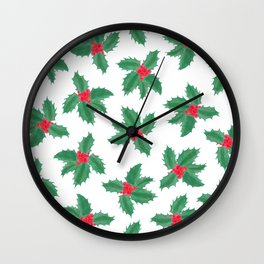 Christmas Green Red Watercolor Holly Berries Leaves Wall Clock