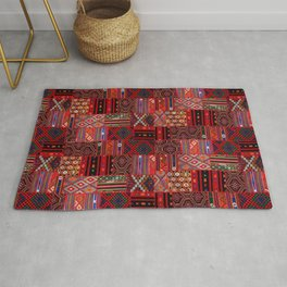 N246 - Red Oriental Berber Traditional Boho Moroccan Collage Rug