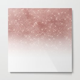 Girly Faux Rose Gold Sequin Glitter White Ombre Metal Print