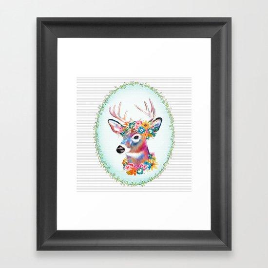 Floral Deer Framed Art Print