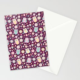 Cartoon owls and flowers, for owls lovers, owl Stationery Cards