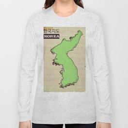 Korean map vintage travel poster. Long Sleeve T-shirt