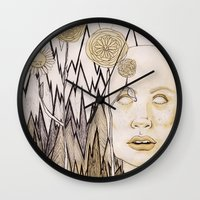 anxiety Wall Clocks featuring Anxiety by Gabi Pezoa
