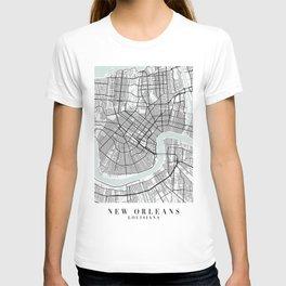 New Orleans Louisiana Blue Water Street Map T-shirt