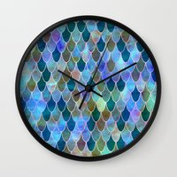 mermaid Wall Clocks featuring Mermaid by Schatzi Brown