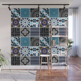Patchwork . Blue , black and grey . Wall Mural