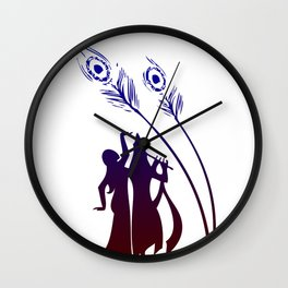 Divine Raas Leela With Radha And Krishna Wall Clock