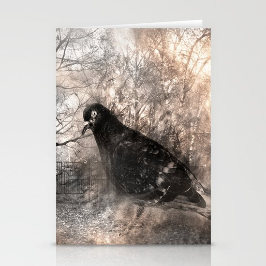 Black bird and the foggy path Stationery Cards