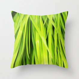 Summer Green Leaves Throw Pillow