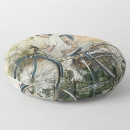 Oriental brother and sister riding a bicycle painted on a rusty wall somewhere in Asia. Floor Pillow