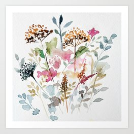 Watercolor Garden Abstract Art Print